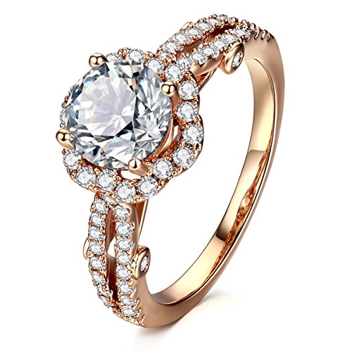 222a0056f AllenCOCO Cubic Zirconia Ring 14K Rose Gold Plated Simulated diamond Halo Engagement  Wedding Rings For Women6