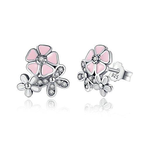 TIDOO Jewelry Womens Luxury S925 Sterling Silver Cute Flower Stud Earring