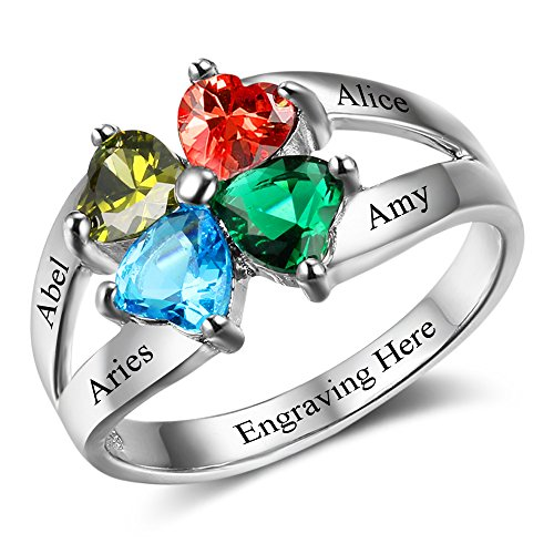 3d00de94f7f7d Diamondido Personalized Mother's Day Rings Family Jewelry Engrave ...