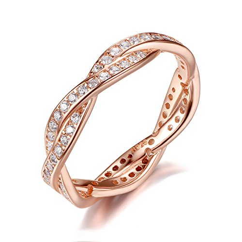 5c3211592 925 Sterling Silver Rose Gold-plated Engagement Wedding Rings with Cubic  Zirconia By Presentski